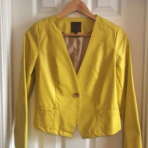 The Limited Yellow Faux Leather Jacket Size Small